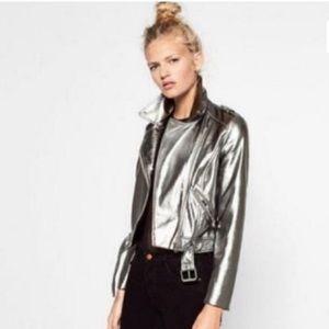 Silver Faux Leather Moto Jacket